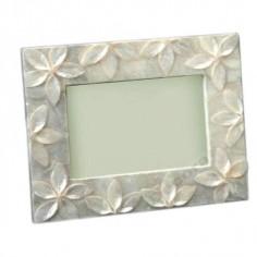 Portafotos nácar claro flores relieve estilo moderno