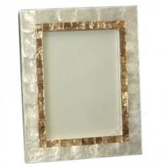 Portafotos acabado nácar blanco y oro