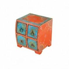 Joyero moderno madera color naranja cajones azul