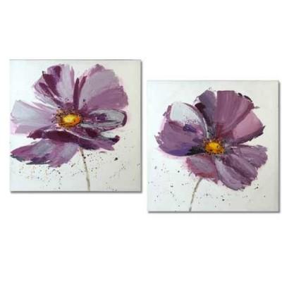 Set lienzos tamaño 80 x 80 cm flores color lila