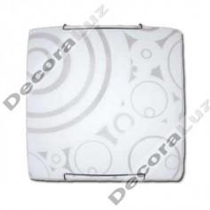 Plafon estilo moderno circulos cristal cuadrado opaco