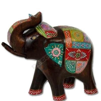Figura de elefante en madera de resina y detallado con colores