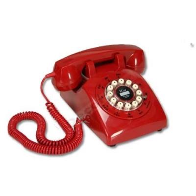 Telefono mesa estilo vintage color rojo