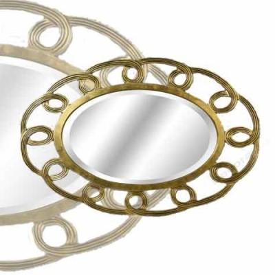 Espejo de madera grande color dorado detallado con relieve for Espejo dorado grande