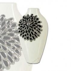 Jarrón cerámica color blanco detallado color plata