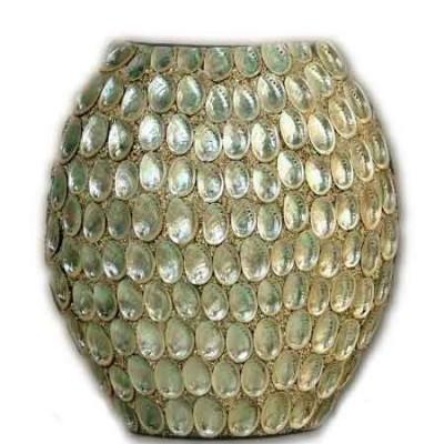 Jarrón de cerámica gris plateado moderno