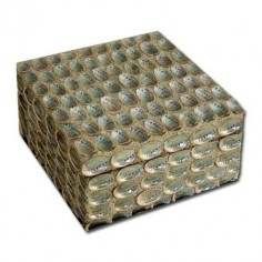 Caja cerámica gris plateado