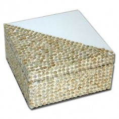 Caja cerámica color blanco y nácar