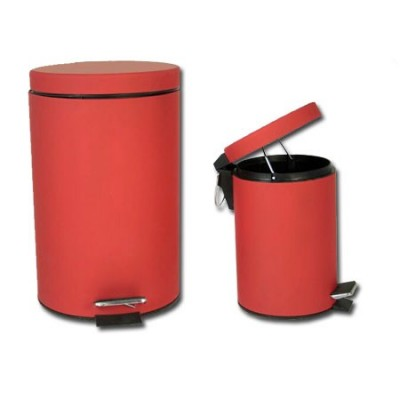 -Papelera 3 litros metal y goma roja