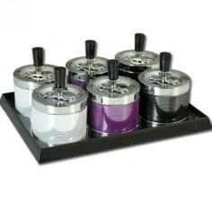 Set 6 ceniceros de metal giratorios sobremesa