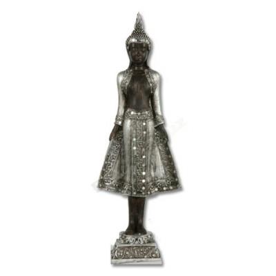 Figura buda resina plata detalles cristal