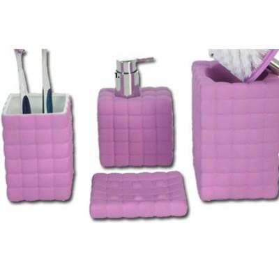 -Set menaje baño cerámica color violeta