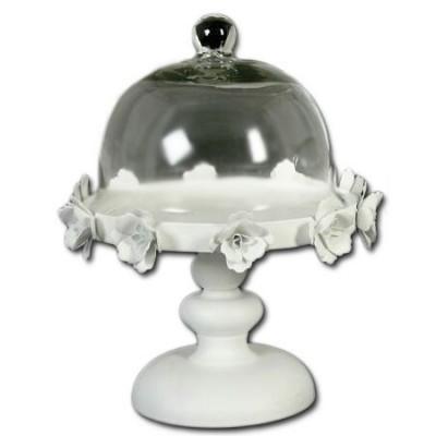 Tartera de metal con tapa de cristal blanca
