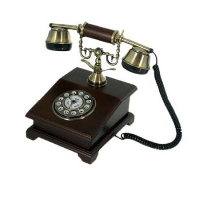 Teléfono antiguo de madera dial giratorio