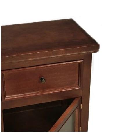 Comprar mesa de noche caj n y puerta de madera nogal for Mesas de noche de madera