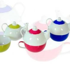 Set de 6 tazas con tetera de cerámica en color blanco y varios