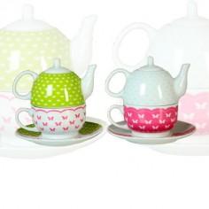 Set de 2 tazas con tetera en color rosa y verde con detalles