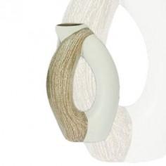 Jarrón moderno fabricado en cerámica en color gris y blanco