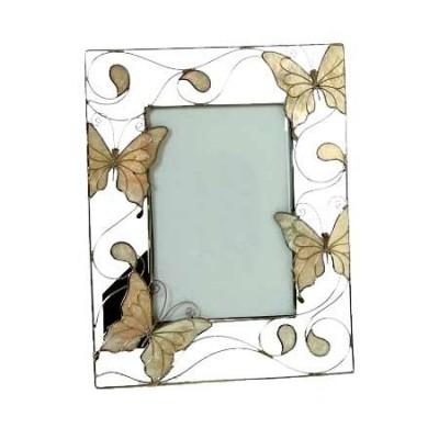 Portafotos calado con detalles de mariposas en nácar
