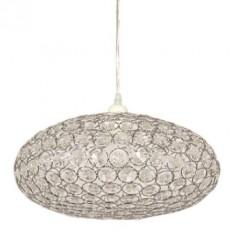 Lámpara colgante ovalada de metal con cristales