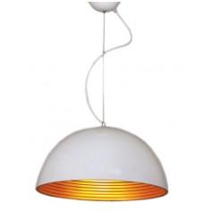 Lámpara colgante semiesfera blanco y plateado