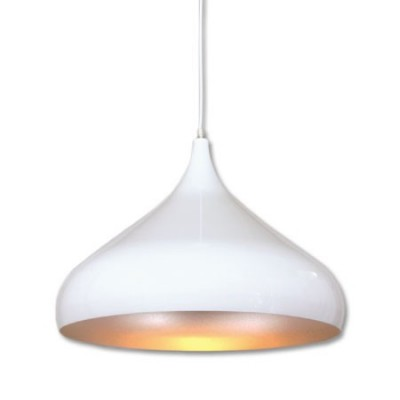 Lámpara colgante forma cónica blanco plateado