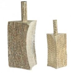 Set 2 jarrones de madera nacarado modernos
