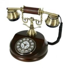 Teléfono vintage de madera dial giratorio