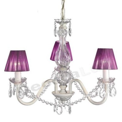 Lámpara blanca de 3 luces clásica