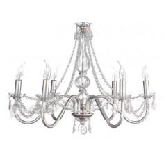 Lámpara de techo Mª Teresa plata clásica de 6 luces con cristales