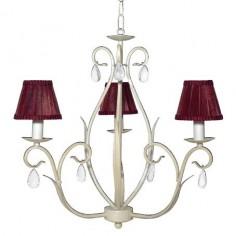 Lámpara blanca de tres luces clásica con pantallas azafrán
