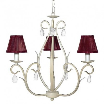 Lámpara de hierro en color blanco, pantallas de tela azafrán