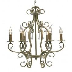 Lámpara de diseño clásico de metal acabado en plata envejecida