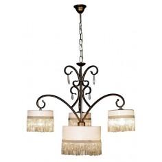 Lámpara de metal envejecido de 4 luces adornada con cristales