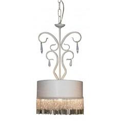 Lámpara colgante clásico Bemus en color blanco pantalla flecos