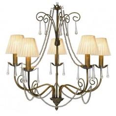 Lámpara Araña acabado anticuario estilo clásico adornada 5 luces
