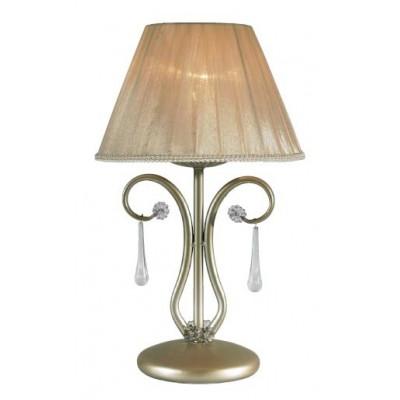 Lámpara de mesa de fabricación artesanal con pantalla de tela