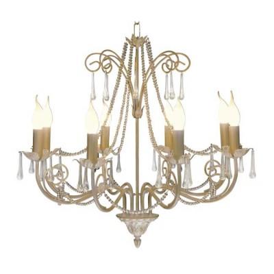 Lámpara grande clásica de 8 brazos en oro francés