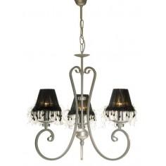 Lámpara de metal acabado en tono plata con pantallas góticas