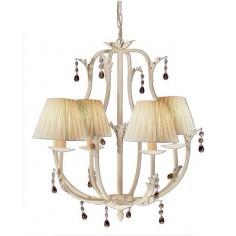 Lámpara de metal blanco de 4 luces y pantallas clásicas