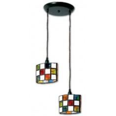 Lámpara colgante de techo estilo granadino colores y opalina