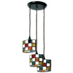 Lámpara colgante de techo estilo granadino colores y opalina tres luces