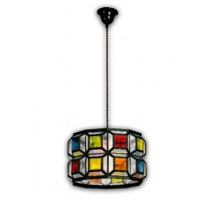 Lámpara colgante de techo estilo granadino cristales colores 902