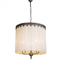 Lámpara de flecos beige acabado blanco francés