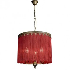 Lámpara de flecos burdeos acabado anticuario
