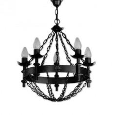 Lámpara rústica Bucan de cinco luces negro