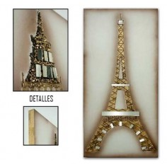 Cuadro de la torre Eiffel de madera en color oro
