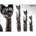 Pack de tres figuras de gato fabricadas en madera