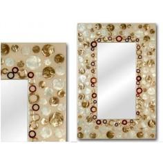 Espejo grande de nácar con detalles en oro y marrón