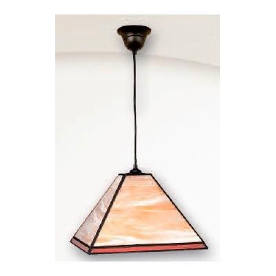 Lámpara fabricada en cristal de tiffany rojo y crema